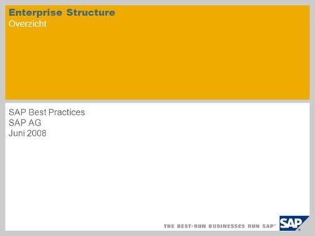 Enterprise Structure Overzicht SAP Best Practices SAP AG Juni 2008.
