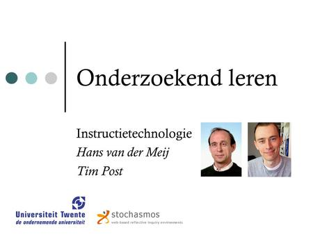 Instructietechnologie Hans van der Meij Tim Post