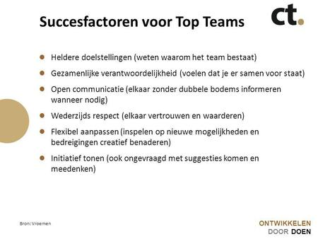 Succesfactoren voor Top Teams