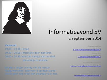 Informatieavond 5V 2 september 2014