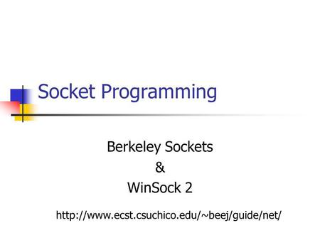 Socket Programming Berkeley Sockets & WinSock 2
