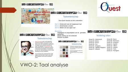 VWO-2: Taal analyse.