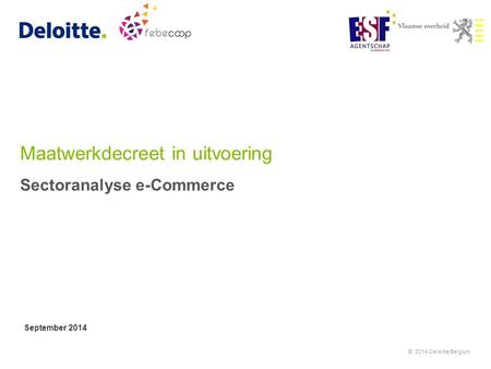 Maatwerkdecreet in uitvoering Sectoranalyse e-Commerce September 2014 © 2014 Deloitte Belgium.