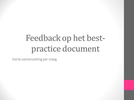 Feedback op het best-practice document