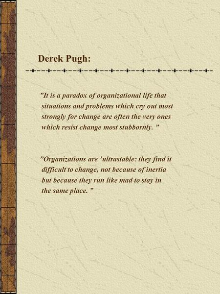 "Derek Pugh: ""It is a paradox of organizational life that situations and problems which cry out most strongly for change are often the very ones which resist."