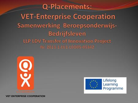 Q-Placements: VET-Enterprise Cooperation Samenwerking Beroepsonderwijs-Bedrijfsleven LLP LDV Transfer of Innovation Project Nr. 2013-1-LV1-LEO05-05342.