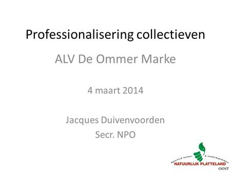 Professionalisering collectieven