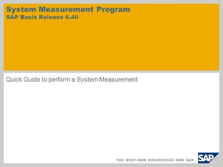 System Measurement Program SAP Basis Release 6.40 Quick Guide to perform a System Measurement.