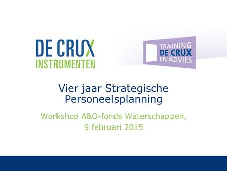 Vier jaar Strategische Personeelsplanning Workshop A&O-fonds Waterschappen, 9 februari 2015.