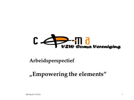 "BE/Hasselt/17-05-'051 Arbeidsperspectief ""Empowering the elements"""