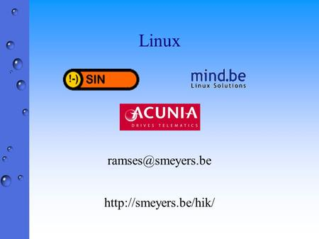 Linux  Overzicht ¢ 1. RPM (RedHat Package Manager) ¢ 2. Bash (Born against shell) ¢ 3. Networking (ifconfig,