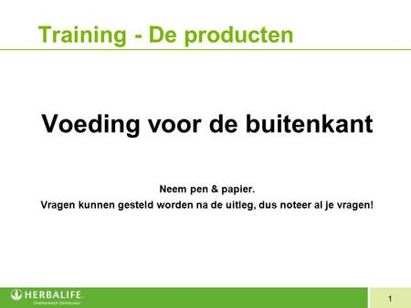 Training - De producten