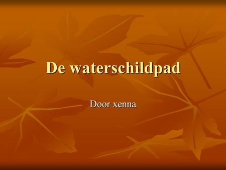 De waterschildpad Door xenna.