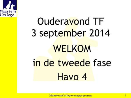 Ouderavond TF 3 september 2014