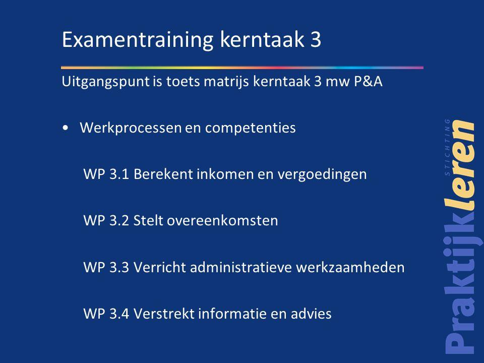 Competenties D - Aandacht en begrip tonen (wp 3.4) E - Samenvoegen en overleggen (wp 3.4) F - Ethisch en integer handelen (wp 3.4) J - Formuleren en rapporteren (wp 3.2, wp 3.3) K - Vakdeskundigheid toepassen (wp 3.1) M - Analyseren (wp 3.1, wp 3.2, wp 3.4) N - Onderhandelen (wp 3.1, wp 3.2 wp 3.4) P - Leren (wp 3.2, wp 3.4) Q - Plannen en organiseren (wp 3.3) S - Kwaliteit leveren (wp 3.1, wp 3.2) T- Instructies en procedures opvolgen (wp 3.2, wp 3.3) Examentraining kerntaak 3