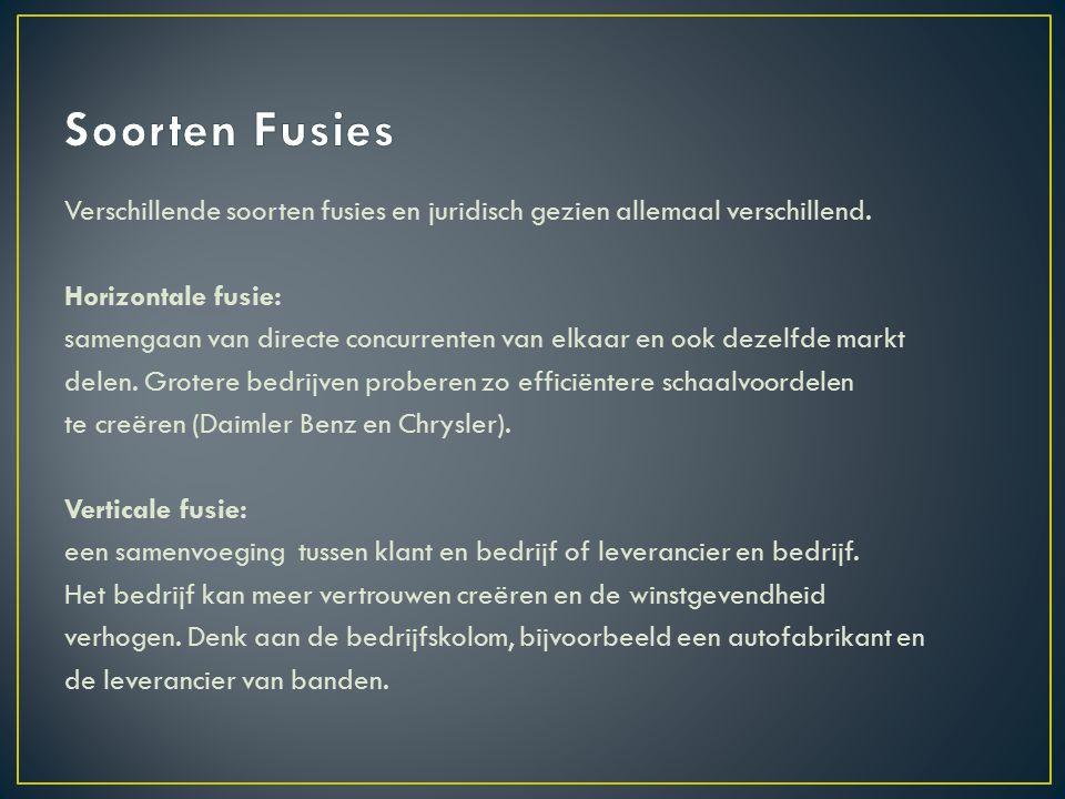 Market–extension fusie: twee bedrijven verkopen dezelfde producten in verschillende internationale markten.