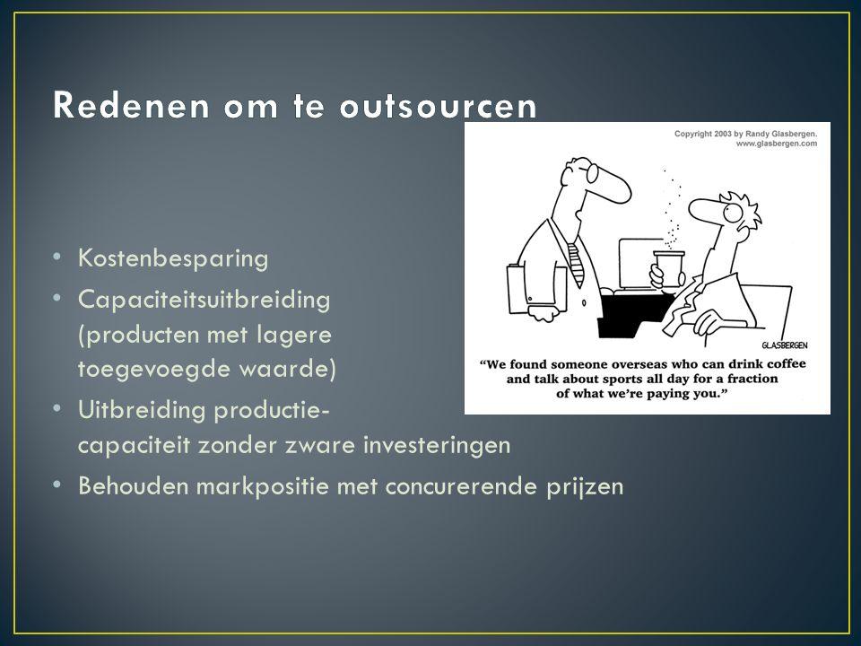 Integrale Outsourcing = Business Process Outsourcing Verantwoordelijkheid voor de uitvoering en coördinatie bij de tegenpartij Partiële Outsourcing = Uitvoering van bedrijfsprocessen naar lagelonenlanden