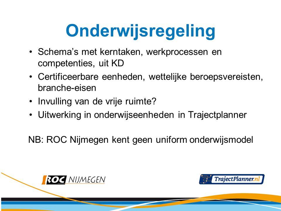 Diploma-eisen Zak-/Slaagregeling Examenplannen: -Voorwaarden voor deelname aan examen -Dekking: kerntaken, werkprocessen, competenties (mix) -Taal en Rekenen (vanaf 2010) -MTV -LLB (KD 2010) of L en B (KD 2011) (Stukjes uit) Examenreglement NB: ROC Nijmegen kent geen uniform examenmodel (of bijvoorbeeld voortgangsregeling of herkansingsregeling) Examenregeling
