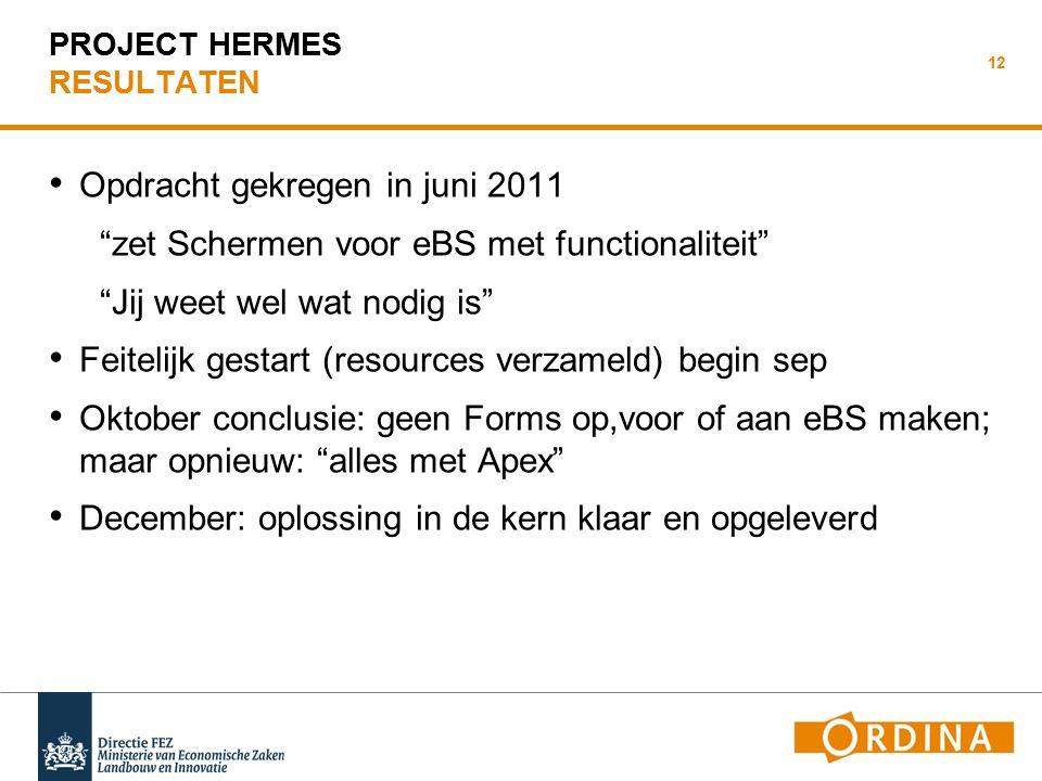 PROJECT HERMES ONDERDEEL: PLANNING Feb 2012 feitelijk in gebruik.