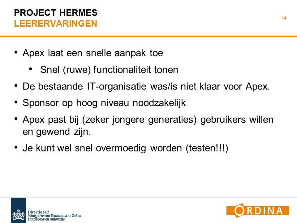 HERMES Met APEX tegen eBS praten