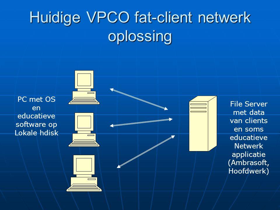 Client server oplossing Thinclient verzorgt alleen maar interface met gebruiker Server met alle software en data van clients