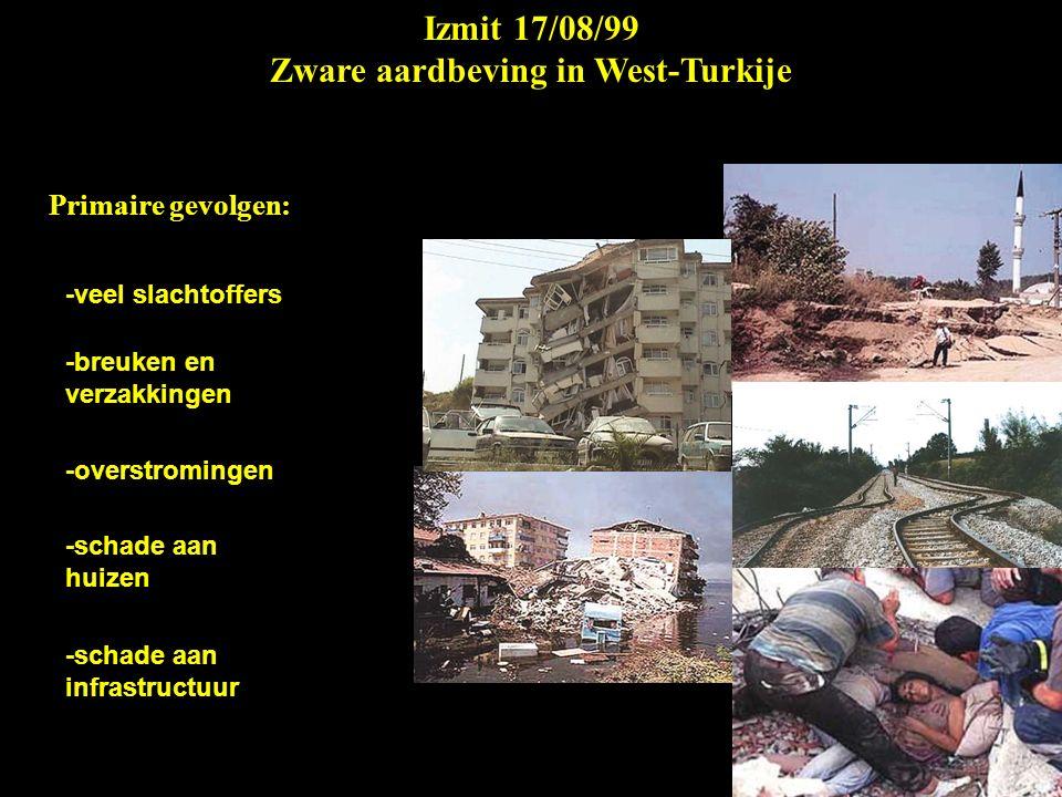 Izmit 17/08/99 Zware aardbeving in West-Turkije Secundaire gevolgen: -uitvallen van de elektrische stroom -breken van de waterleiding -uitbreken van branden -daklozen -hongersnood -uitbreken van ziektes