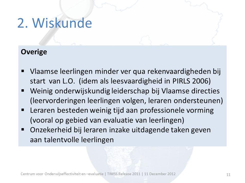 Onderwijskundig leiderschap directies lager onderwijs Percentage leerlingen wiens directeur veel tijd besteedt aan opgelijste taken Vlaams gemiddelde (S.E.) Internationaal gemiddelde (S.E.) Het promoten van de onderwijskundige visie en doelen van de school35 (3.8)59 (0.5) Het ontwikkelen van de onderwijskundige doelen en leerplandoelen30 (3.7)60 (0.5) Het monitoren van de implementatie van de onderwijskundige doelen van de school in het onderwijs van de leerkrachten 24 (3.8)53 (0.5) Het monitoren van de leervorderingen van de leerlingen om er voor te zorgen dat de onderwijskundige doelen van de school gehaald worden 22 (3.2)57 (0.5) Het handhaven van de orde en een ordelijk klimaat op school36 (4.4)68 (0.5) Het aanpakken van gedrag van leerlingen die zich niet aan de regels houden 31 (3.7)44 (0.5) Het houden van gesprekken om leerkrachten die problemen in hun klas hebben te helpen 28 (4.0)39 (0.5) Het initiëren van onderwijskundige vernieuwings- of verbeteringsprojecten29 (4.4)43 (0.6) Deelname aan nascholingsactiviteiten specifiek voor directeurs34 (4.3)39 (0.5) 12 Centrum voor Onderwijseffectiviteit en –evaluatie | TIMSS Release 2011 | 11 December 2012