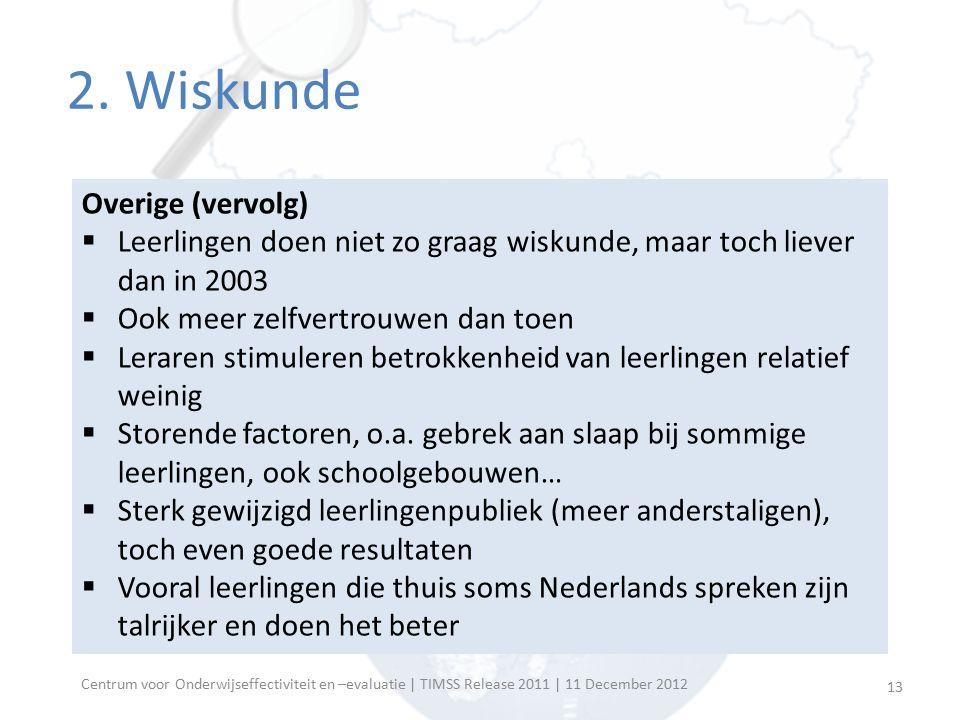 Centrum voor Onderwijseffectiviteit en –evaluatie | TIMSS Release 2011 | 11 December 2012 Algemeen prestatieniveau  Vlaanderen doet het niet goed  23 landen beter (o.a.