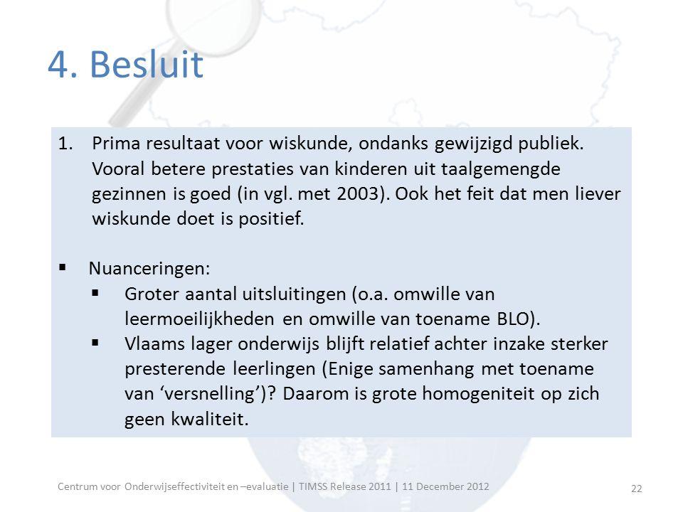 Centrum voor Onderwijseffectiviteit en –evaluatie | TIMSS Release 2011 | 11 December 2012 4.