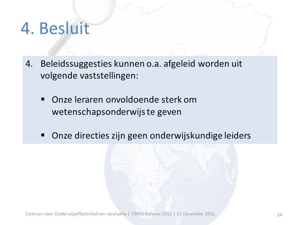 Centrum voor Onderwijseffectiviteit en –evaluatie | TIMSS Release 2011 | 11 December 2012 Meer informatie  Resultaten Vlaanderen op website Centrum voor Onderwijseffectiviteit en –evaluatie: http://ppw.kuleuven.be/o_en_o/COE/timss2011  Contact Jan.VanDamme@ppw.kuleuven.beJan.VanDamme@ppw.kuleuven.be (016/32 62 45) Kim.Bellens@ppw.kuleuven.beKim.Bellens@ppw.kuleuven.be (016/32 58 57) 25
