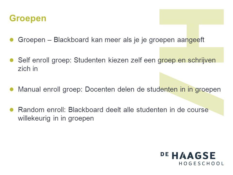 Groepen Manual enroll groep: Docenten delen de studenten in in groepen CSV bestand maken: Studentnummers in 1 kolom Groepsnaam in de kolom ernaast Uploaden en de groepen zijn aangemaakt Je kunt ook docenten opnemen in deze groepen