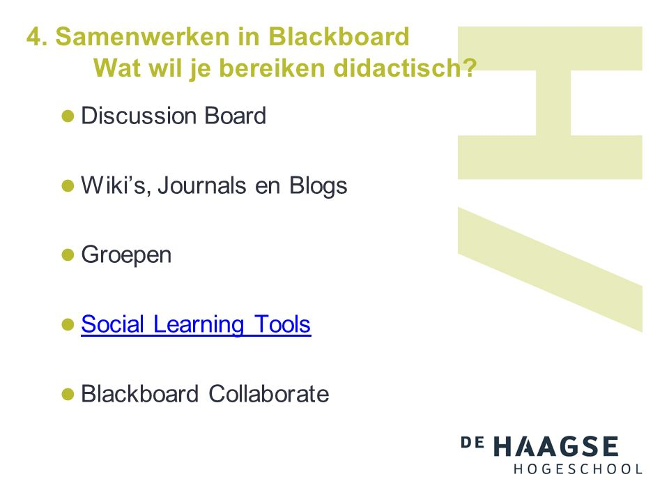 4. Samenwerken in Blackboard Blackboard Collaborate