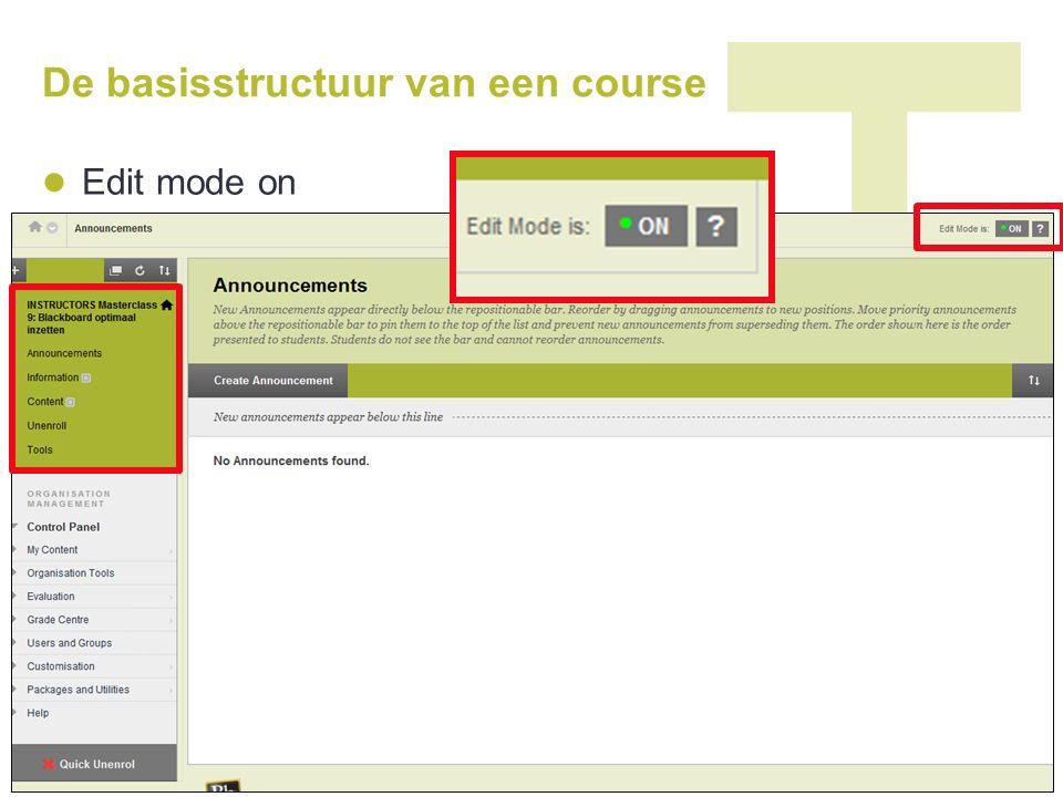 De basisstructuur van een course Edit mode off