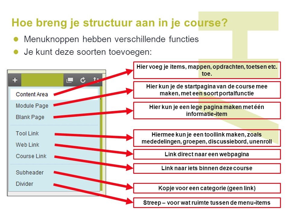Hoe breng je structuur aan in je course.