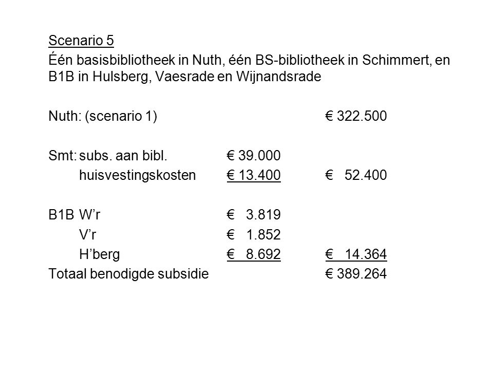 Kosten ↔ begroting 2011 Sc.omschrijvingkostenbegrotingverschil 1Één basisbibl.322.500374.80052.300 + 2Éen basisbibl.