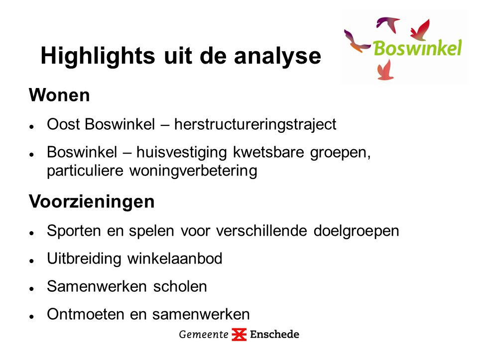 Woonomgeving Maximaal versterken en gebruiken groen Optimaal benutten watermogelijkheden Onderhoud en beheer van openbare ruimte verbeteren Oversteekbaarheid Burgermeester van Veenlaan verbeteren Highlights uit de analyse