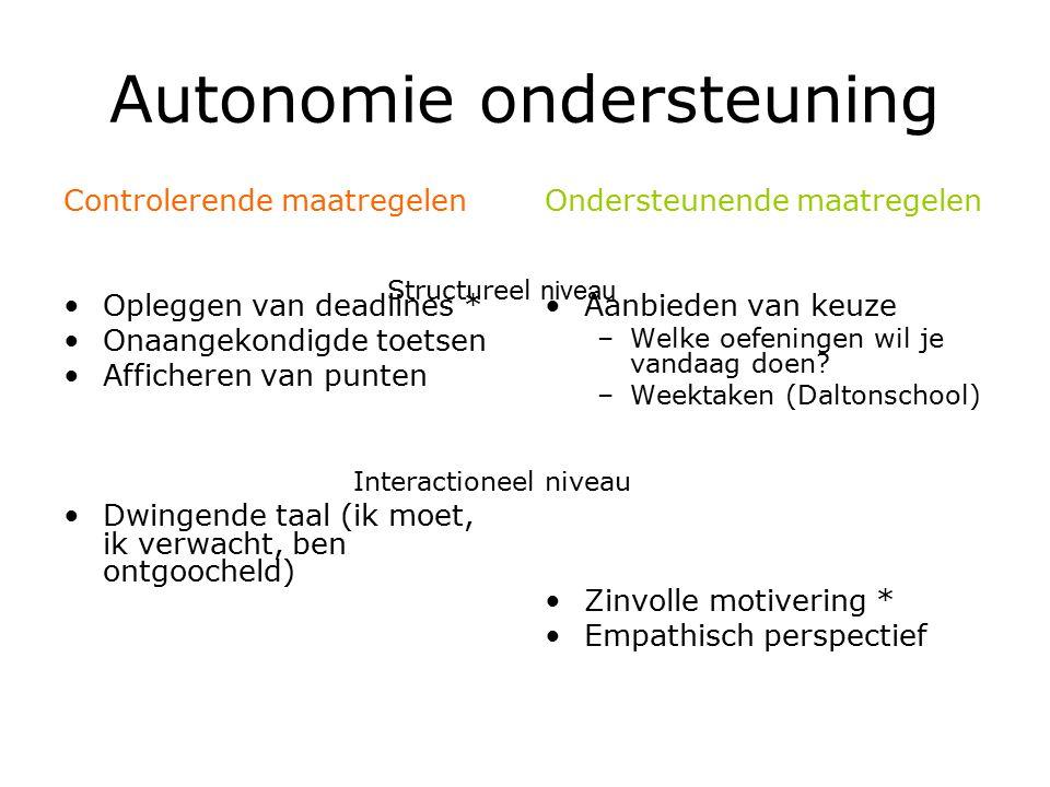Autonomie ondersteuning ≠ onafhankelijkheid promoten (geen beroep doen op anderen.) ≠ laissez-faire (onbeperkte vrijheid) ≠ disneyfication Structuur en klassieke methoden nodig Begeleiding is hierbij uitermate belangrijk.