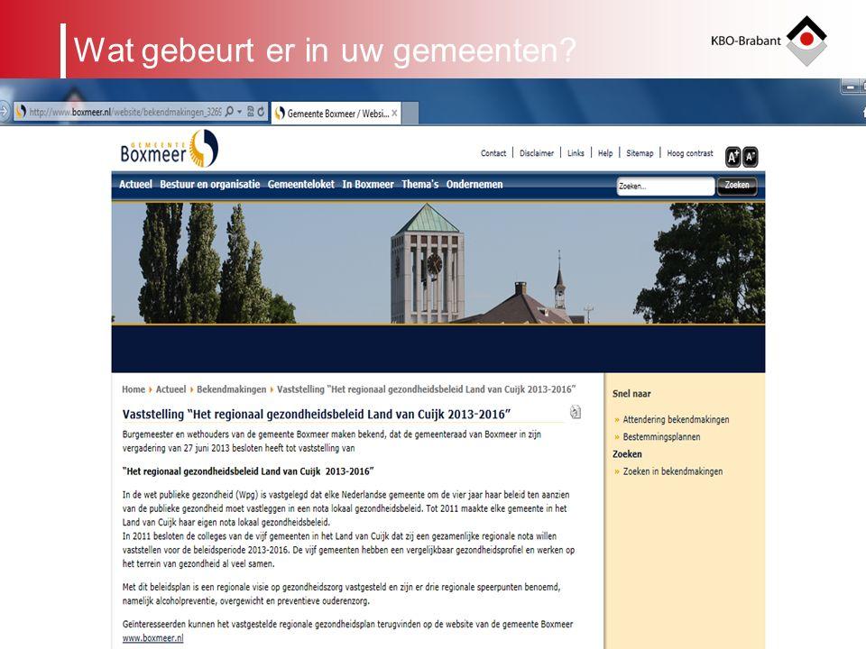 4 KBO-Brabant werkt samen Landelijk met de elf andere Provinciale KBO s in de Unie KBO Provinciaal met vijf andere ouderenorganisaties: ANBO, BOOG, PCOB, PSOB en PVGE in het Verenigd Bonden Overleg Brabant (VBOB) Op lokaal niveau werken Afdelingen samen met andere bonden indien aanwezig Krachtig bestuur in Noord-oost Brabant