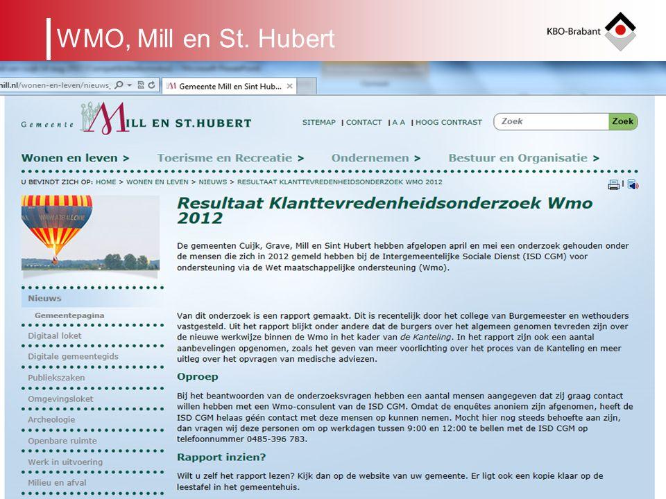 7 Verdeling van taken tussen niveaus in de KBO Afdeling Gemeentelijk cluster van Afdelingen Kring KBO-Brabant Unie KBO WMO meldpunt voor Noord oost Brabant