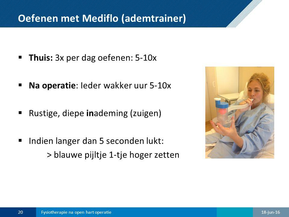 Oefenen met Mediflo (ademtrainer)  Niet door anderen laten gebruiken  Bij duizeligheid: even stoppen  Meenemen bij opname  Thuis: na 1-2 weken stoppen en weggooien 18-jun-1621Fysiotherapie na open hart operatie