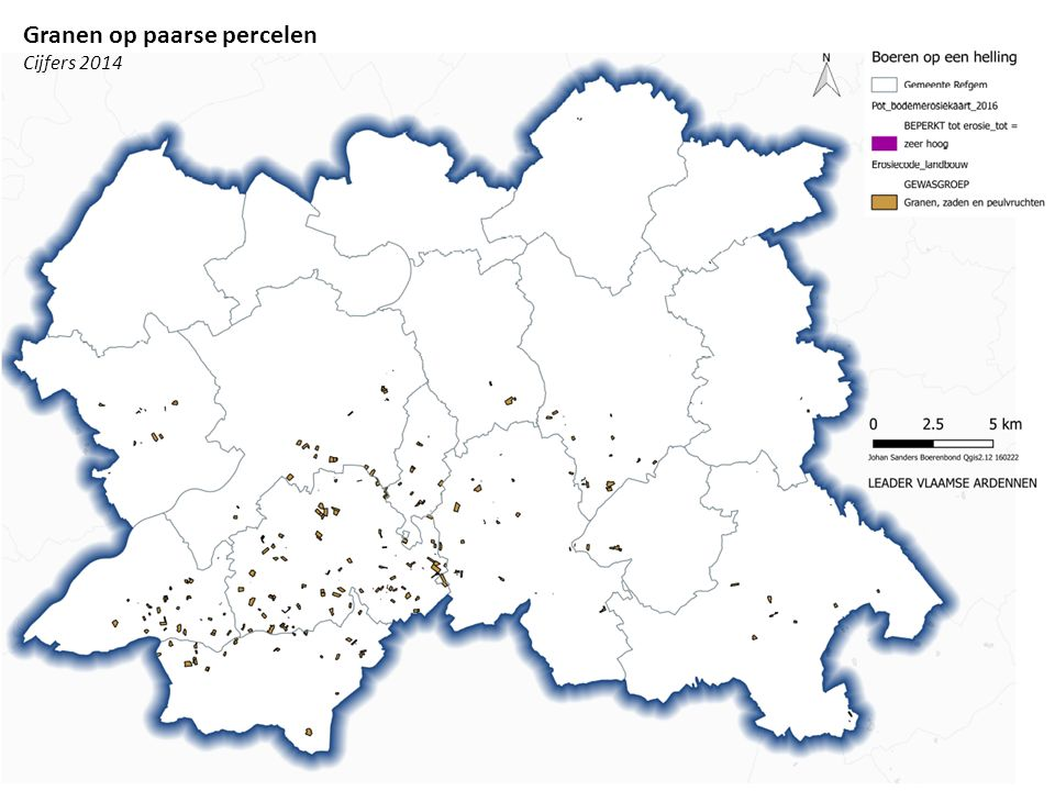 Maïs op paarse percelen Cijfers 2014