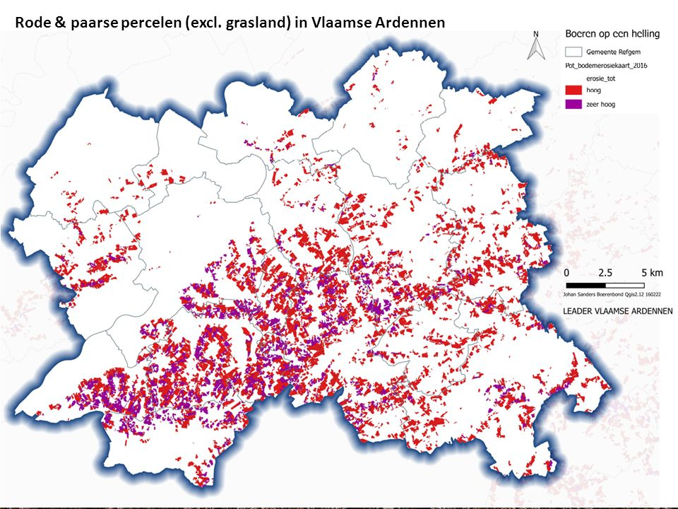 Rode percelen (excl. grasland) in Vlaamse Ardennen