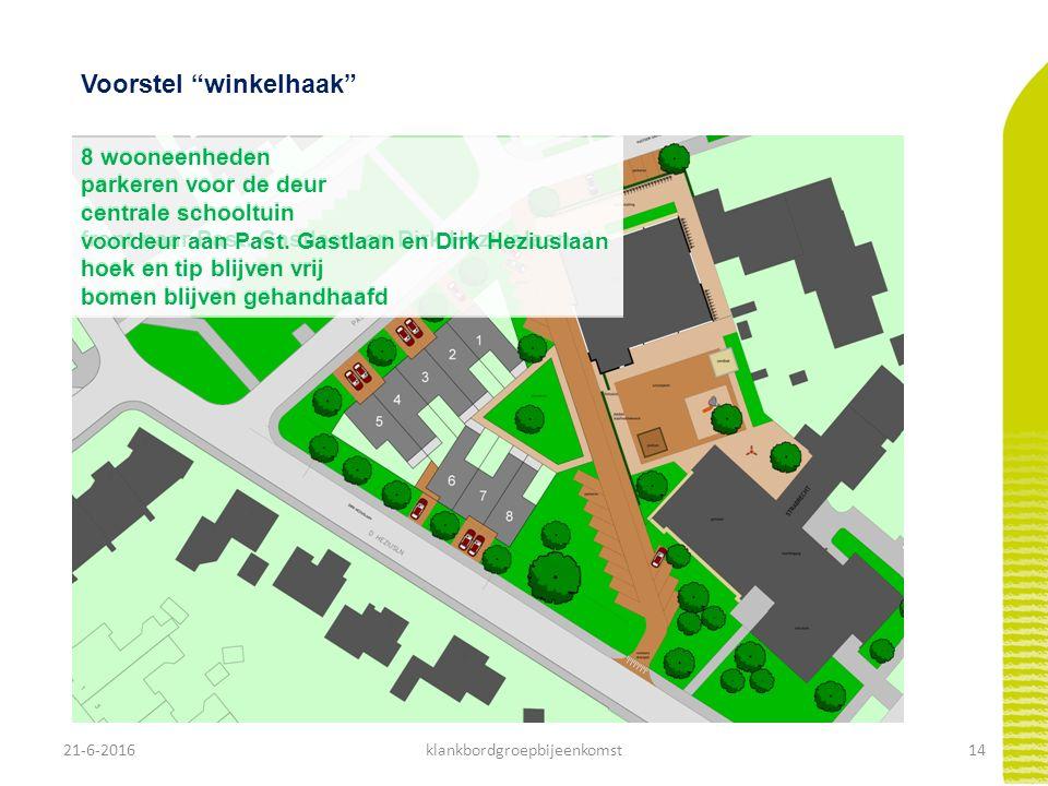 21-6-201615klankbordgroepbijeenkomst Voorstel waaier 7 wooneenheden parkeren achterkant schooltuin in tip voordeur aan Past.