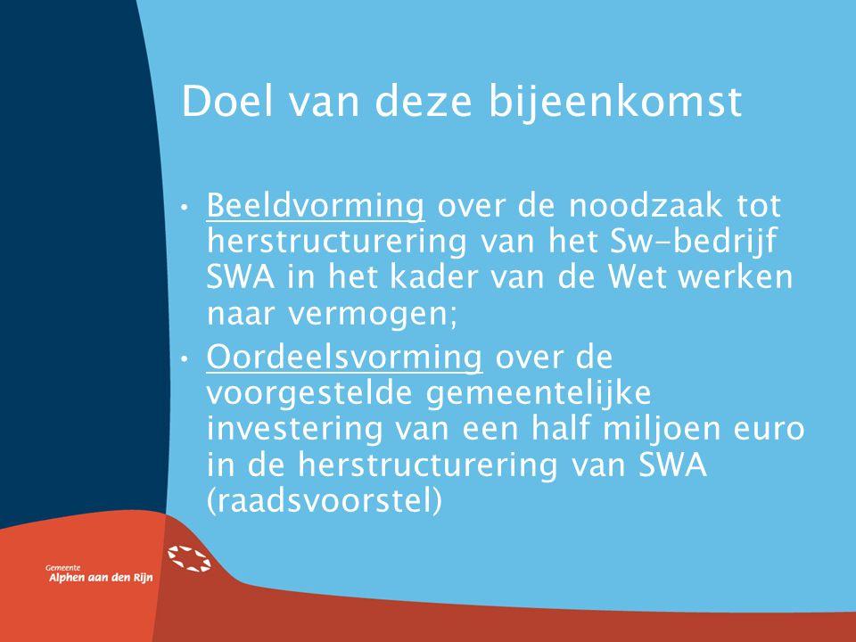 Doel van deze bijeenkomst Beeldvorming over de noodzaak tot herstructurering van het Sw-bedrijf SWA in het kader van de Wet werken naar vermogen; Oordeelsvorming over de voorgestelde gemeentelijke investering van een half miljoen euro in de herstructurering van SWA (raadsvoorstel)