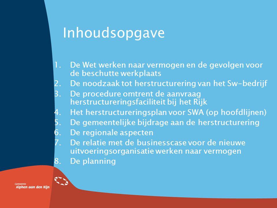 Inhoudsopgave 1.De Wet werken naar vermogen en de gevolgen voor de beschutte werkplaats 2.De noodzaak tot herstructurering van het Sw-bedrijf 3.De procedure omtrent de aanvraag herstructureringsfaciliteit bij het Rijk 4.Het herstructureringsplan voor SWA (op hoofdlijnen) 5.De gemeentelijke bijdrage aan de herstructurering 6.De regionale aspecten 7.De relatie met de businesscase voor de nieuwe uitvoeringsorganisatie werken naar vermogen 8.De planning