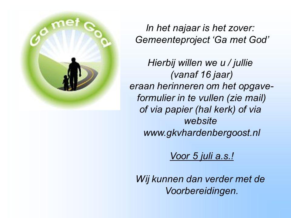 4 september 2013 Startavond catechese en vereniging Samen op weg voor oud en jong om op een informele manier met elkaar in gesprek te gaan over het geloof.