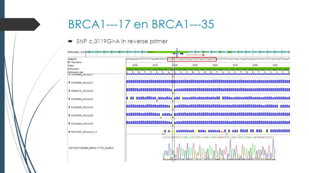 BRCA1---17 en BRCA1---35  Mutatie c.3481_3491del homozygoot zichtbaar