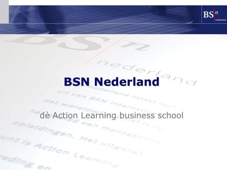 Dè Action Learning business school BSN Nederland.