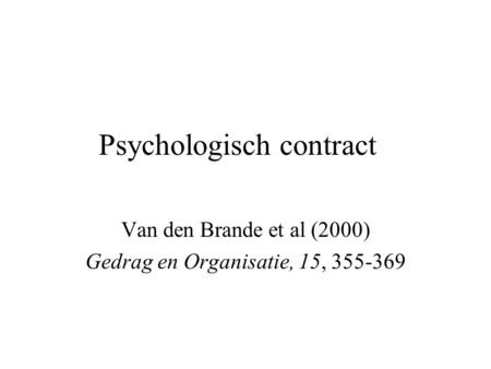 Psychologisch contract