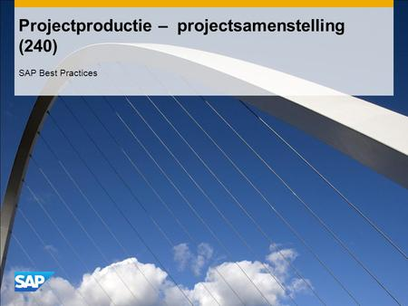 Projectproductie – projectsamenstelling (240) SAP Best Practices.